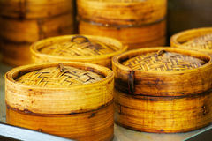 Bamboo Steamers for Dim Sum steaming Stock Images