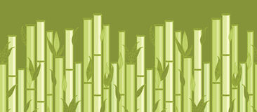 Bamboo stems and leaves horizontal seamless. Vector bamboo stems and leaves horizontal seamless pattern ornament background with hand drawn elements stock illustration