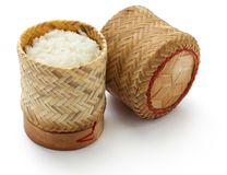 Bamboo sticky rice container Stock Photography