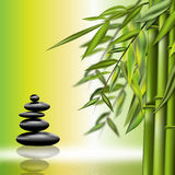 Bamboo still life. Bamboo background illustration with black stones Stock Image