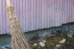 Bamboo Straw Broom Stock Photo