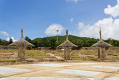 Bamboo Structures. Are left after finishing project Royalty Free Stock Images