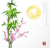 Bamboo, sun, sakura in blossom. Traditional Japanese ink painting sumi-e. Contains hieroglyph - double luck vector illustration
