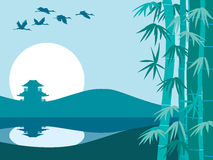 Bamboo, sun and temple. Vector illustration of bamboo trees, temple and sunrise Royalty Free Stock Image