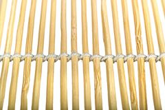 Bamboo sunblind macro. Bamboo curtain texture isolated of white background Stock Photos