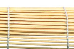 Bamboo sunblind macro. Bamboo curtain texture isolated of white background Stock Photo