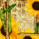 Bamboo and sunflowers Royalty Free Stock Image