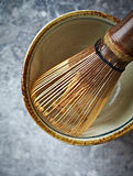 A bamboo tea whisk for matcha tea Royalty Free Stock Photo