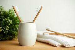 The bamboo toothbrushes in a gray glass with copy space stock photos