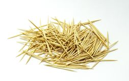 Bamboo toothpick on a white background. stock photography