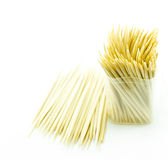 Bamboo toothpick on white backgroud stock image