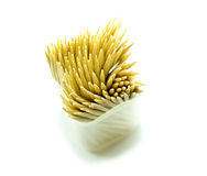 Bamboo toothpick on white backgroud Royalty Free Stock Images