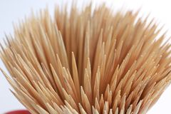 Bamboo toothpicks. Close-up. Bamboo toothpicks swirl. Bamboo too. Thpicks texture Royalty Free Stock Photos