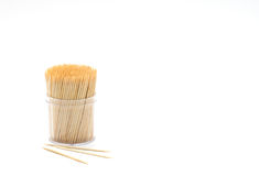 Bamboo toothpicks in round container isolated Royalty Free Stock Images