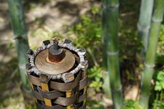 Bamboo torch without fire in the garden at noon royalty free stock images