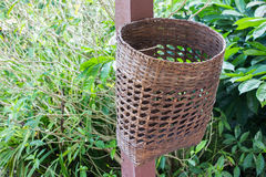 Bamboo trash basket Royalty Free Stock Photo