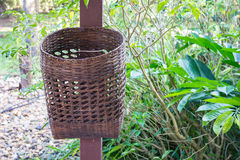 Bamboo trash basket Royalty Free Stock Photography