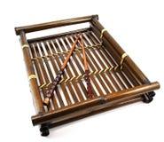 Bamboo tray. Royalty Free Stock Photos