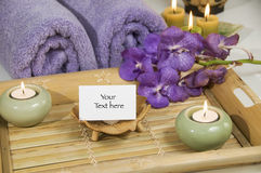 Bamboo tray with candles Stock Photo