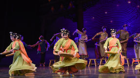 """Bamboo tray dance-Dance drama """"The Dream of Maritime Silk Road"""". Dance drama """"The Dream of Maritime Silk Road"""" centers on the plot of two Stock Photography"""