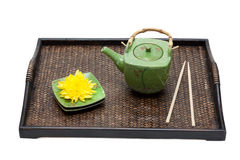 Bamboo tray, green ceramic teapot Stock Photo