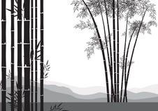 Bamboo tree. Illustration of bamboo tree with mountain range background Royalty Free Stock Photography