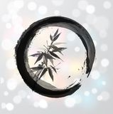 Bamboo tree in circle in Japanese style sumi-e Royalty Free Stock Photos