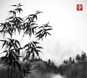 Bamboo trees and forest in fog hand drawn with ink. Traditional oriental ink painting sumi-e, u-sin, go-hua. Contains. Hieroglyph - happiness Royalty Free Stock Photos