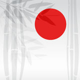 Bamboo trees and red sun on white background. Stock Photography
