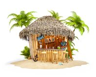 Bamboo tropical bar. On a pile of sand. Unusual travel illustration. Isolated stock illustration