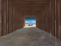 Bamboo tunnel cover walkway to the beach Royalty Free Stock Images