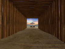 Bamboo tunnel cover walkway to the beach Royalty Free Stock Photo