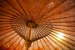 Bamboo umbrella Stock Photos