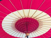 Bamboo umbrella with red color. royalty free stock photo