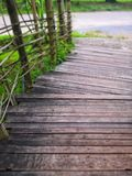 bamboo walkway on roadside royalty free stock image