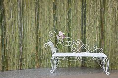 Bamboo wall and white bench Royalty Free Stock Images