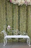 Bamboo wall with white bench Stock Image
