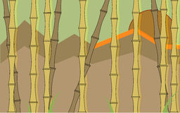 Bamboo wallpaper. In desaturated colors, with mountains on the background Royalty Free Stock Photo