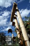 Bamboo and water art. An outdoor, artistic bamboo and water device in Italy royalty free stock images