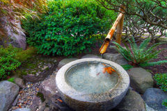 Bamboo Water Fountain in Japanese Garden. Stone Basin Bamboo Water Fountain in Portland Japanese Garden royalty free stock image