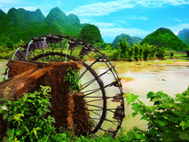Bamboo water wheel Stock Photos