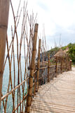 Bamboo way to Resort hut. Royalty Free Stock Image