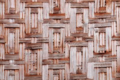 Bamboo weave. Rectangle brown bamboo weave built for wall of hut Royalty Free Stock Photos