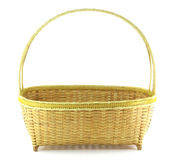 Bamboo weave basket. Isolated on white background Royalty Free Stock Photos