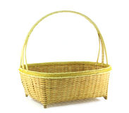Bamboo weave basket. Isolated on white background Royalty Free Stock Photo