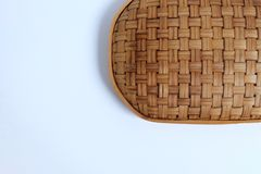 Bamboo weave Basket texture on White background,. Copy space Royalty Free Stock Photography