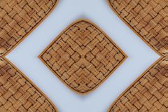 Bamboo weave Baskets texture and pattern. On White background Stock Photos