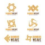 Bamboo weave logo vector illustration set design Stock Images