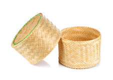 Bamboo weave rice sticky box. On isolated white background Royalty Free Stock Photography