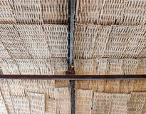 Bamboo weave roof. Of the retro house in Thailand Stock Image